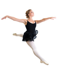 jumping ballet dancer girl isolated on white
