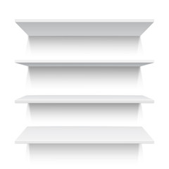 Four white realistic shelves. Vector illustration