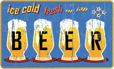 vintage, retro beer sign, vector illustration