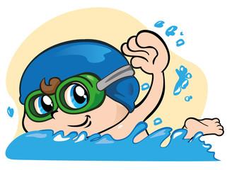 Child playing sports, swimming