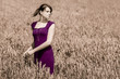 Beautiful young woman with pretty purple dress in wide cornfield