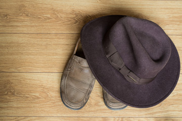 Shoes and fedora hat