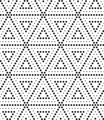 Triangle texture with dots. Seamless vector geometric pattern