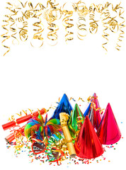 colorful garlands, golden serpentine and confetti