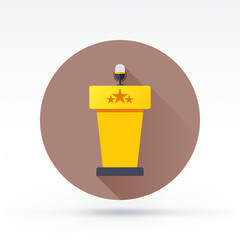 Flat style with long shadows, speech stand vector icon