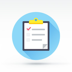 Flat style with long shadows, clipboard with poll vector icon