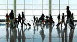 A large group of arriving passengers. Panorama. Airport.