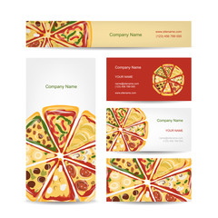 Set of business cards design with pizza slices