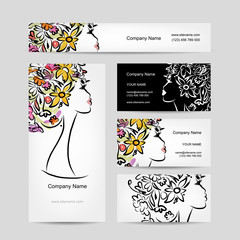 Business cards design with female floral head