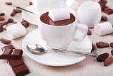 Fototapety Cups of hot chocolate on table, close up