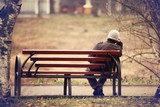lonely man on the bench autumn, winter - Fine Art prints