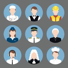Professions avatar flat icons set