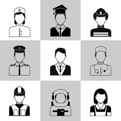Professions avatar icons black set
