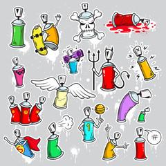 Graffiti characters icons set