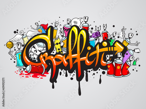 Graffiti characters composition print - 69492071