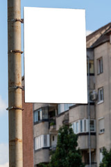 blank advertisement attached to pole