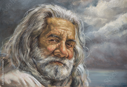dipinto di un uomo anziano con barba bianca - 69492887
