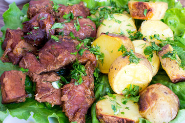 Potatoes and meat, stew