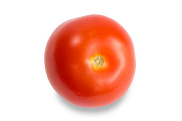 Closeup of a ripe red tomato, isolated on white background