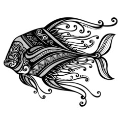 Vector Abstract Sea Fish. Patterned design