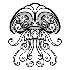 Vector Abstract Sea Jellyfish. Patterned design