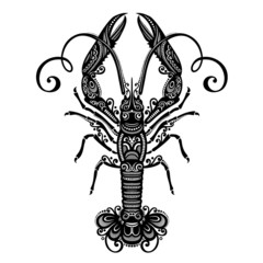 Vector Sea Langoustine. Patterned design