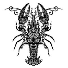 Vector Sea Lobster. Patterned design
