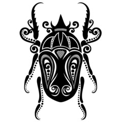 Vector Beautiful Beetle, Exotic Insect. Patterned design, Tattoo