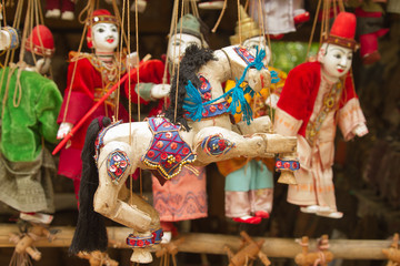 Marionette's horses and people of Myanmar