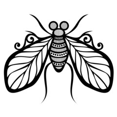 Vector Beautiful Fly, Exotic Insect. Patterned design, Tattoo