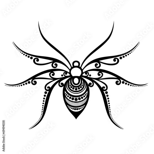 Vector Beautiful Spider, Exotic Insect. Patterned design, Tattoo - 69494038