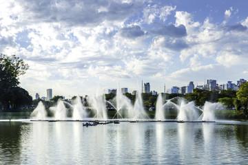 Fountains in Ibirapuera Park in Sao Paulo, Brazil
