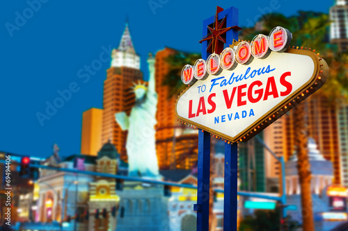 Foto op Canvas Monument Welcome to Las Vegas neon sign