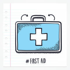 Vector doodle first aid kit icon illustration with color