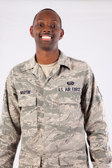 Military man smiling at the camera