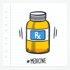 Vector doodle pill bottle icon illustration with color