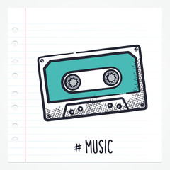 Vector doodle cassette tape icon illustration with color