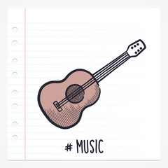 Vector doodle acoustic guitar icon illustration with color