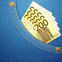 denim pocket and 200 euro banknotes