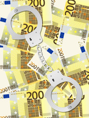 handcuffs on two hundred euro background vertical