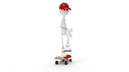 the white little man on a board
