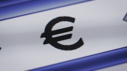 Euro icon on the screen. Looping.