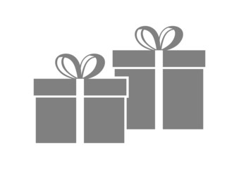 Grey gift icon on white background