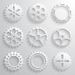 Gear wheels icon set. Nine 3d gears on a light gray background - 69495838