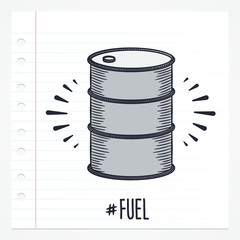 Vector doodle oil barrel icon illustration with color