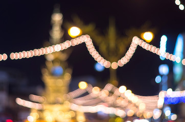 Road lighting decoration at night time, Blurred Photo bokeh
