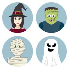 Halloween character set. Witch, mummy, ghost, Frankenstein's