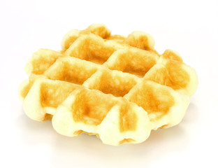 freshly baked waffles on  white background