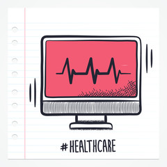 Vector doodle heart beat monitor icon illustration with color