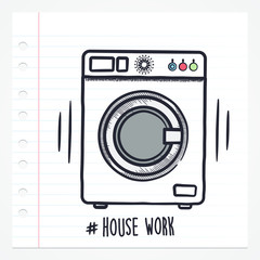 Vector doodle washing machine icon illustration with color